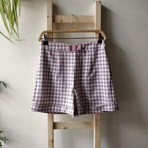 Modcloth Shorts - NWT Modcloth Gingham Check High Waist Bow Shorts S